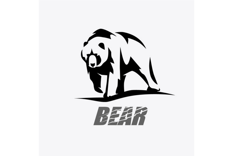 bear stylized vector silhouette, logo template example image 1