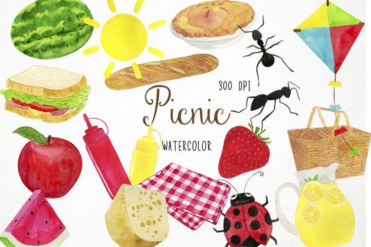 Watercolor Picnic Clipart, Picnic Clip Art, Picnic PNG example image 1