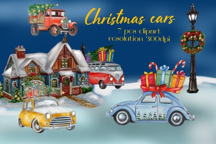 Christmas cars, christmas clipart, watercolor illustratons