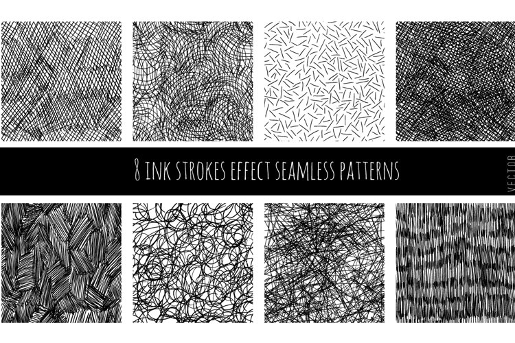 Set of 8 ink strokes effect patterns example image 1