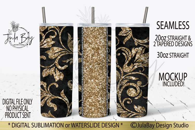 Tooled Leather Skinny Tumbler Design Gold Peekaboo Sub PNG example image 1