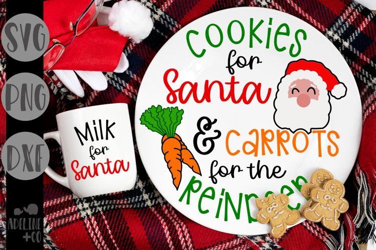 Cookies for Santa & Carrots for the reindeer, Christmas, SVG example image 1
