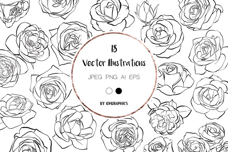 18 Hand drawn Roses, Floral Illustrations in black and white example image 1