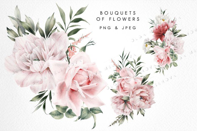 Bouquets of flowers, watercolor example image 1