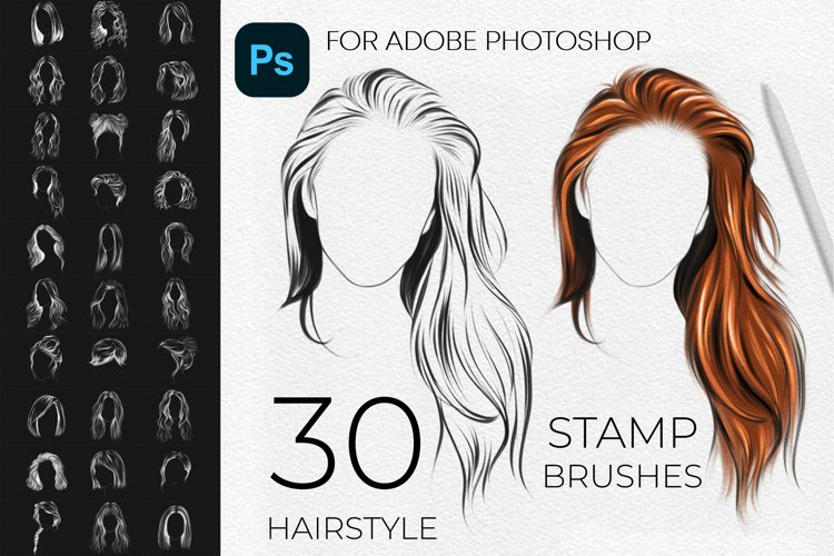 30 Adobe Photoshop Hairstyle Stamps Brushes