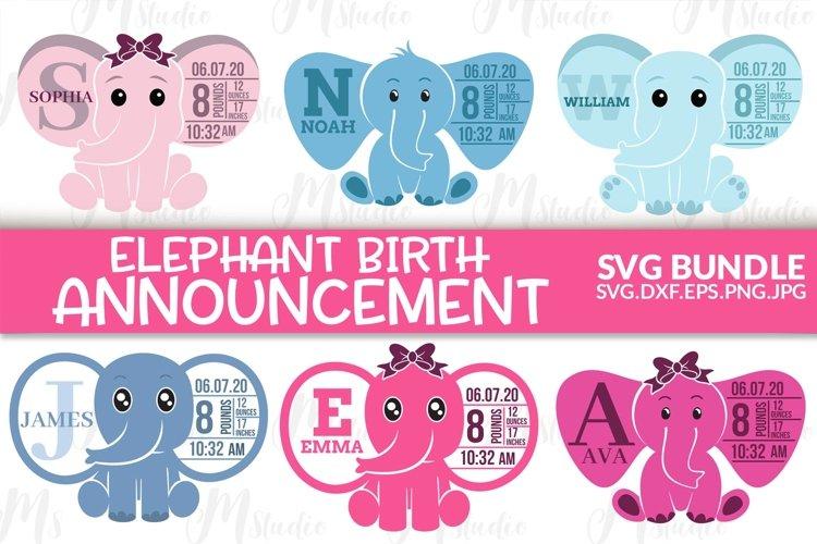 Elephant Birth Stats SVG Bundle