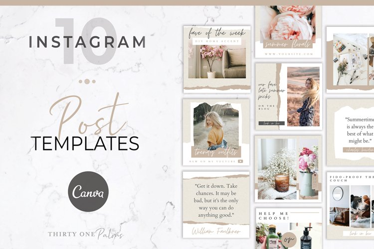 Instagram Post Templates for Canva | Torn Paper
