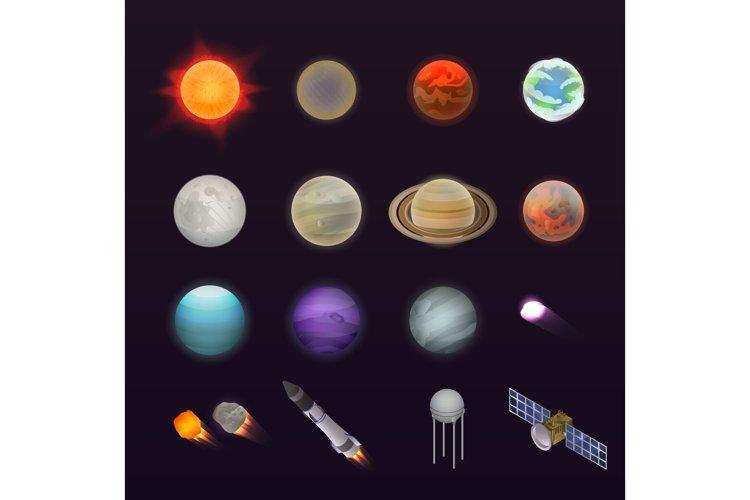 Planets icon set, isometric style example image 1