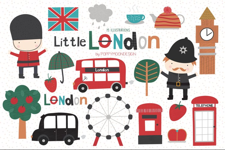 Little London clipart and paper set example image 1