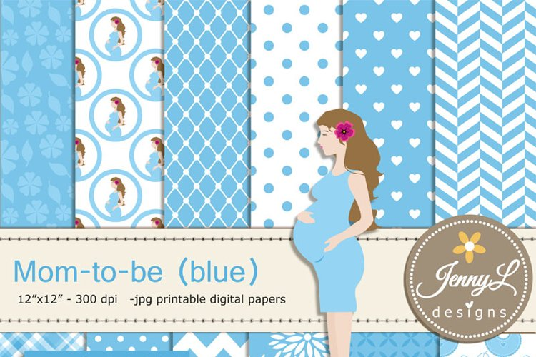 Pregnant Mom Digital papers and Clipart SET, Mom-to-be for Baby Boy, Baby Shower, Gender Reveal Digital scrapbooking example image 1