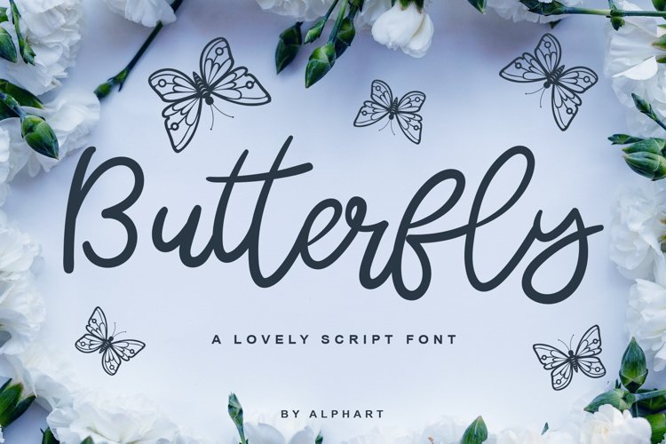 Butterfly - a lovely script font example image 1
