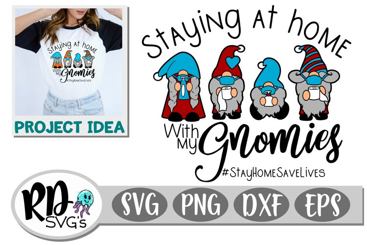 Stay at Home with my Gnomies - A Layered Cricut Cut File example image 1