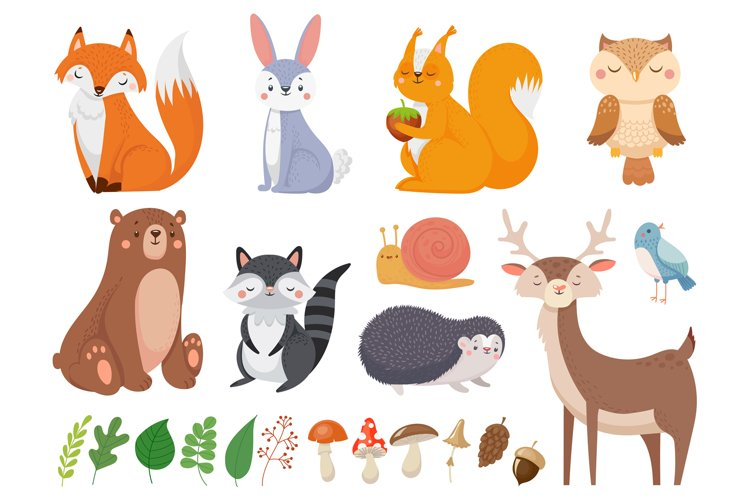 Cute woodland animals. Wild animal, forest flora and fauna e example image 1