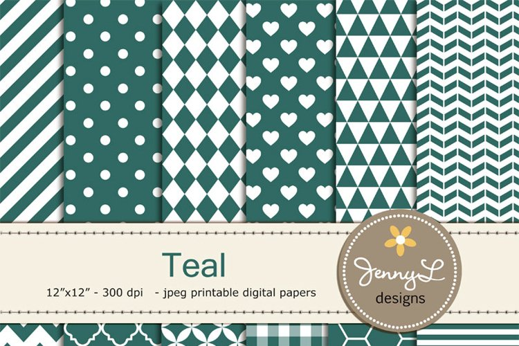 Teal Digital Papers example image 1