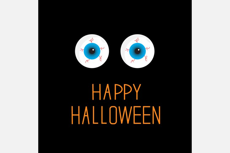 Blue and green eyeballs with blood. Happy Halloween card example image 1