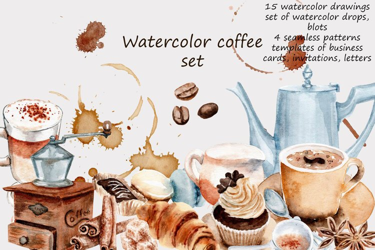 watercolor drawings coffee set example image 1