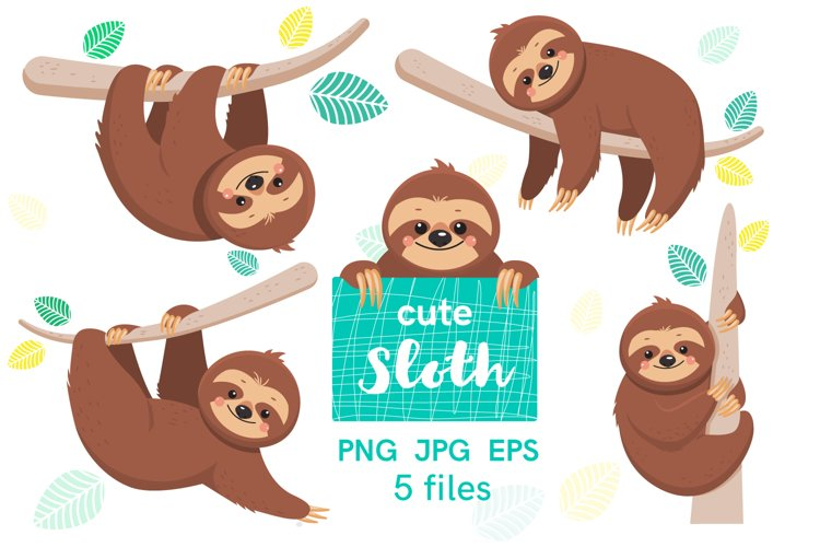 Digital Clip art with cute cartoon sloths example image 1