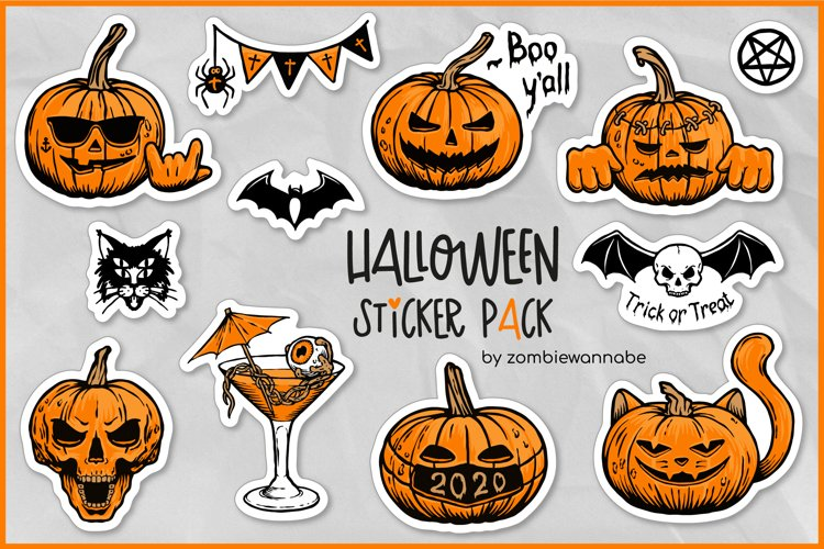 Sticker Bundle - Halloween Sticker Pack, Pumpkin Stickers example image 1