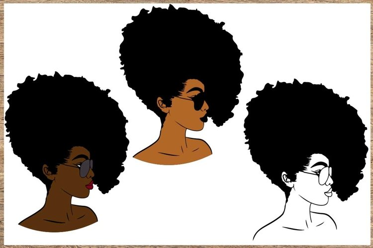 Bundle svg Black woman Black Woman with glasses svg example image 1