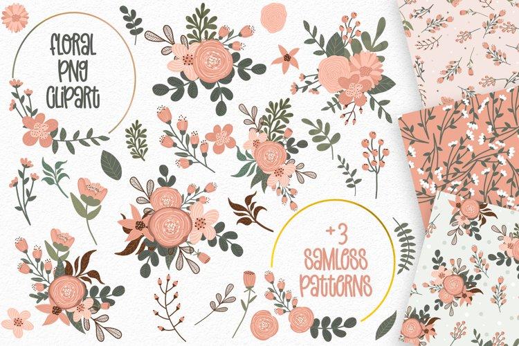 Floral Clipart   Wedding Clipart  Flower Seamless Patterns