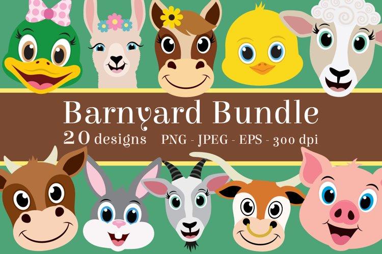 Barnyard Animal Clipart Bundle, Happy Faces, PNG, JPEG, EPS example image 1