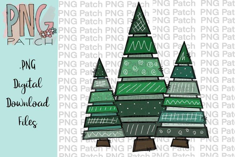 Whimsical Christmas Trees, Christmas PNG File, Sublimation example image 1
