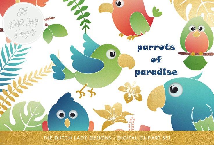 Tropical Parrots & Birds Clipart Set example image 1