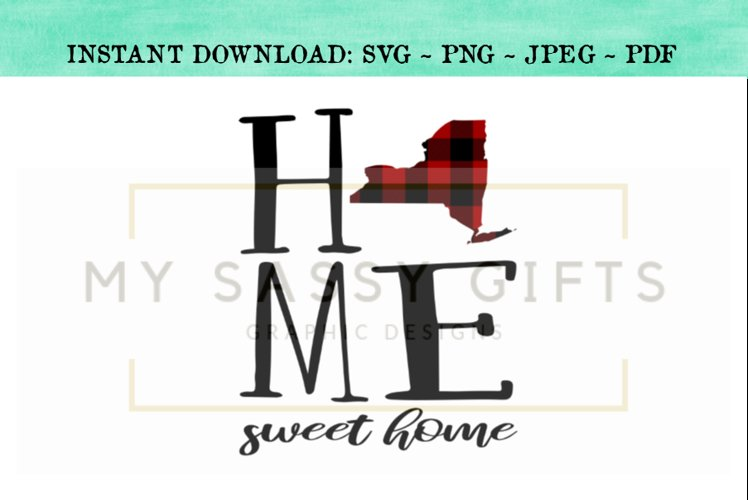 New York State Home Sweet Home SVG Design example image 1