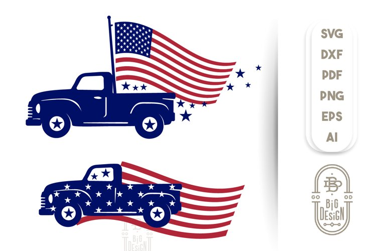 4th of July - USA Flag & Truck - SVG Bundle example image 1