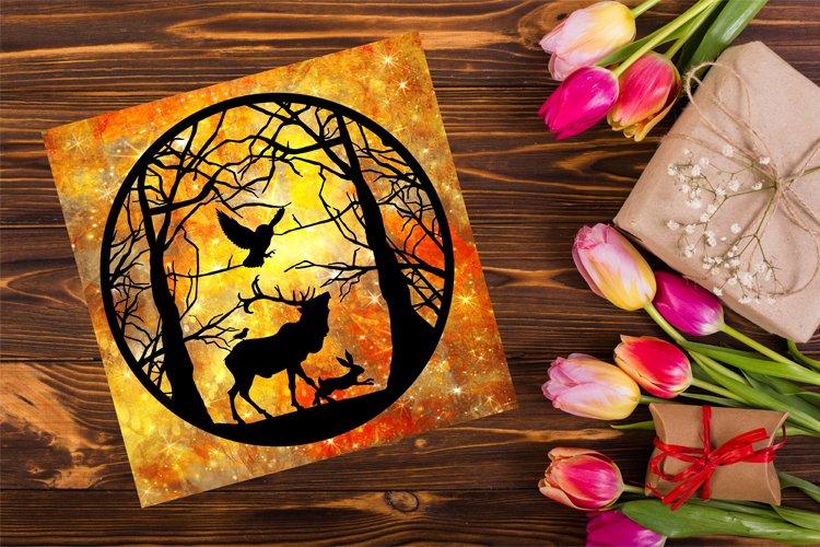Wild Animal Woodland Papercutting Template, Animals SVG example image 1