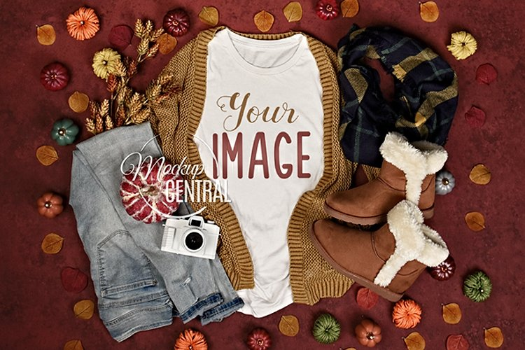Girl's Fall Shirt Mockup, T-Shirt Styled Fashion Apparel example image 1