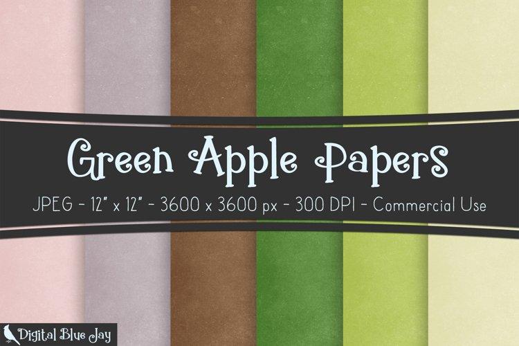 Digital Scrapbook Paper Backgrounds - Green Apple