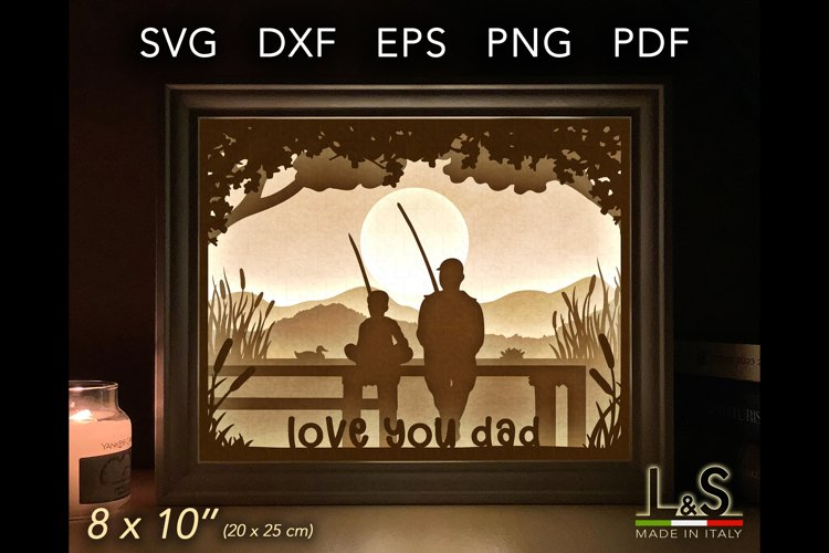 3D father and son fishing light box