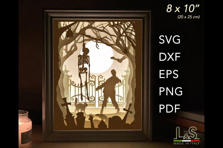 3D Halloween light box template preview