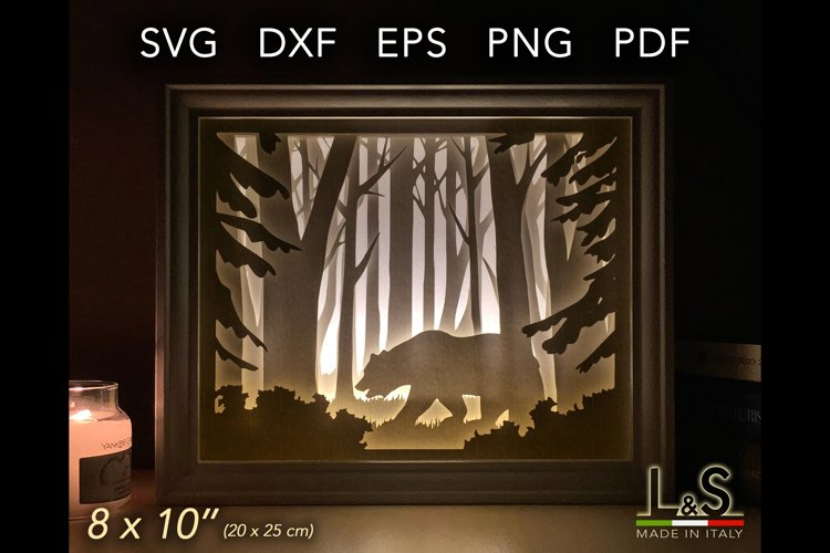 3D layered bear lighted shadow box