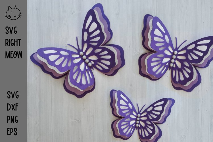 3D Layered Butterfly, Butterfly SVG Cutting File