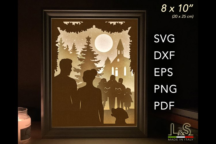 3D layered couple lighted shadow box for Christmas