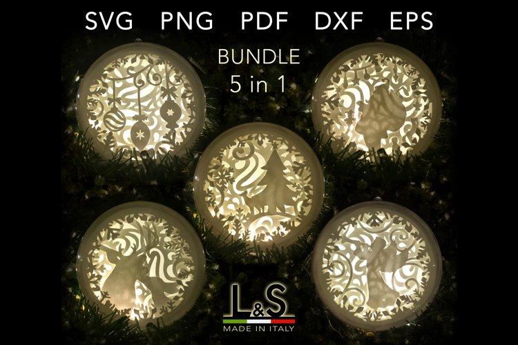 3D Christmas Ornament Bundle, Papercut Christmas Bauble svg
