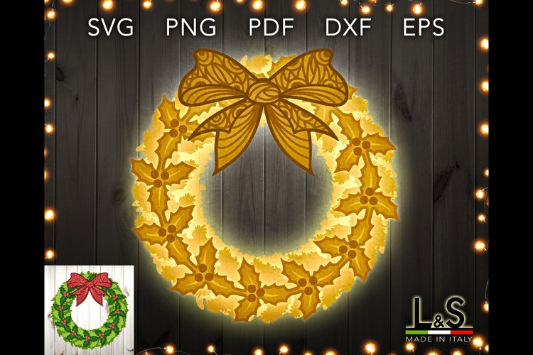 3D layered Christmas wreath cut files