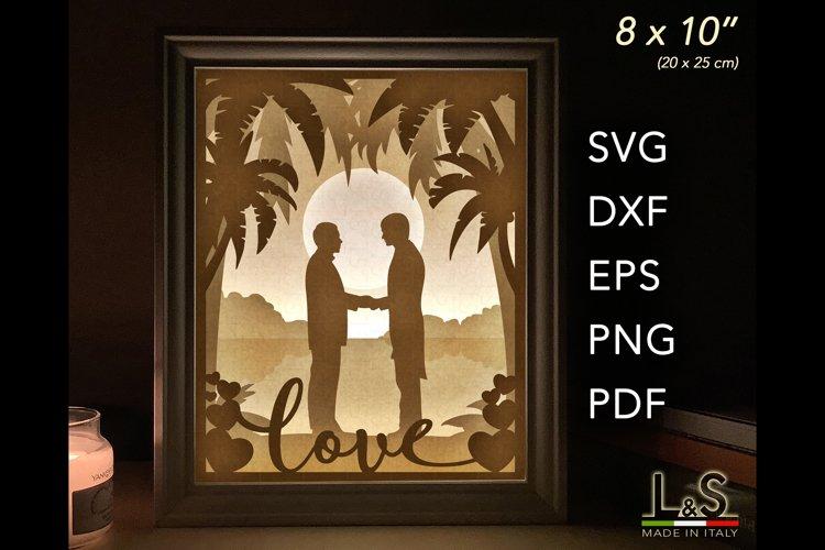 3D layered gay wedding lighted shadow box