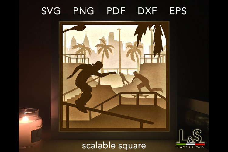 3D layered skateboard lighted shadow box