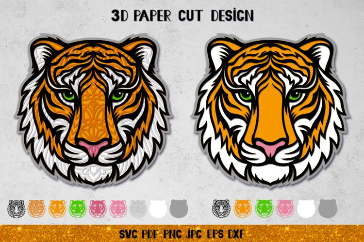 3D Tiger Mandala SVG,Tiger Layered Papercut,Tiger SVG