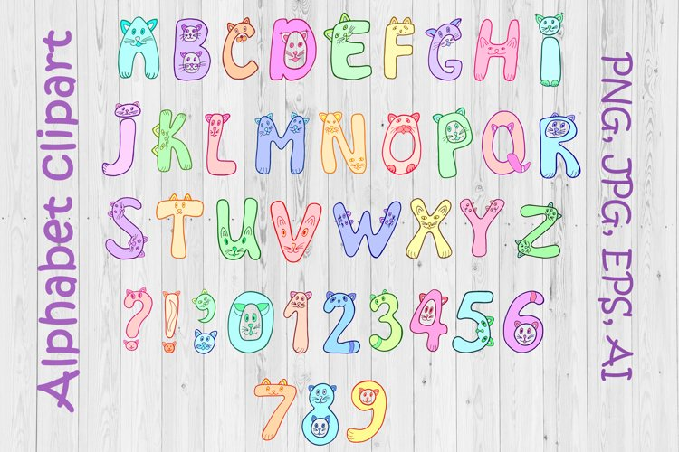 Cats alphabet clipart - letters and numbers PNG, AI, EPS