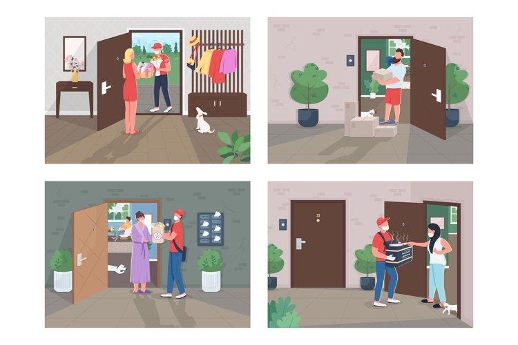 Covid lockdown delivery flat concept vector illustration set example image 1