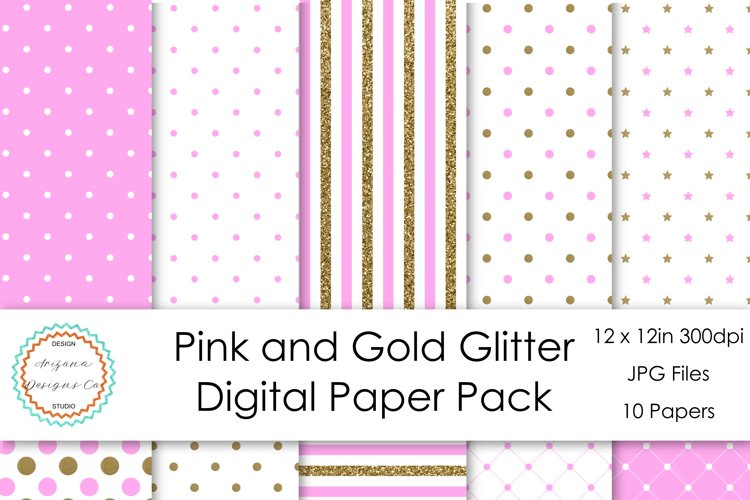 Pink and Gold Glitter Digital Paper Pack example image 1