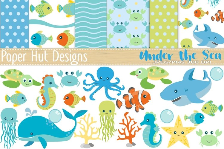Sea Animal Clipart and Digital Papers Set example image 1