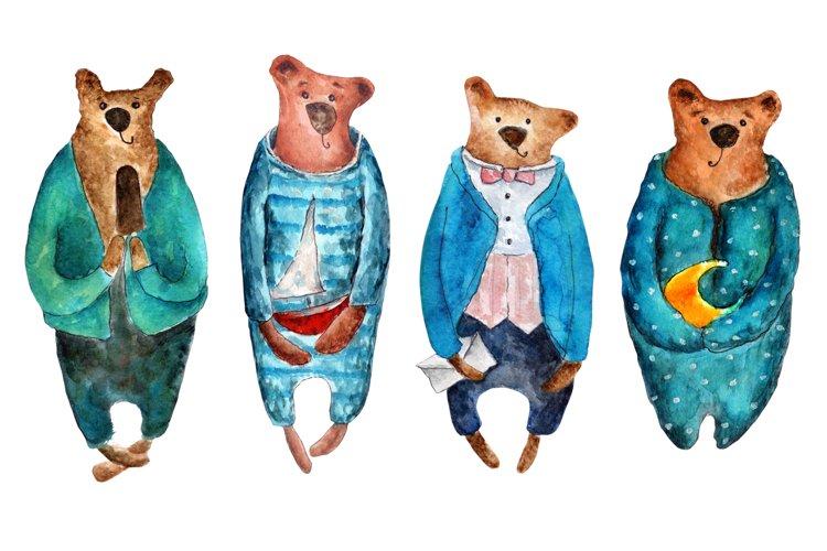 Set of watercolor bears example 1