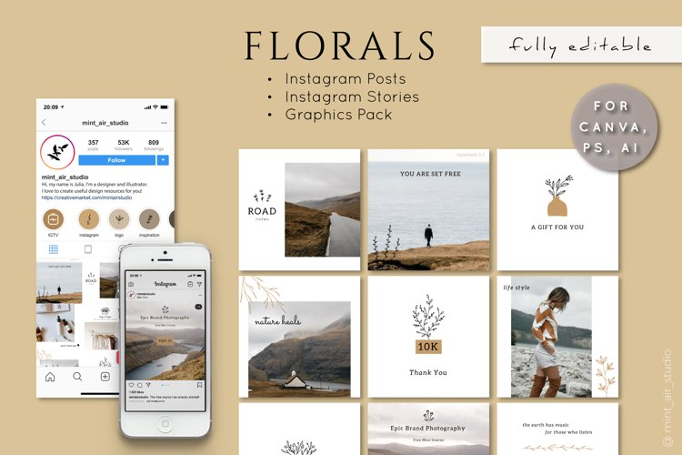 Instagram Post & Stories. Florals