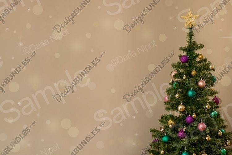 Christmas tree on neutral background with sparkles example image 1