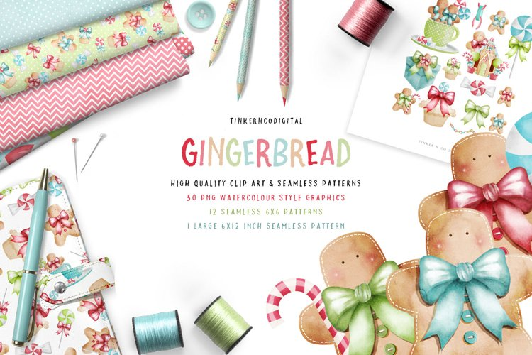 Gingerbread men, Seamless patterns & Gingebread Houses PNG example image 1